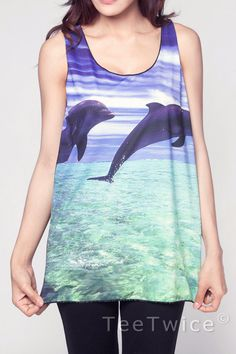 I want this shirt. dolphin shirt on esty its so cute Vaporwave Clothing, Deep Blue Sea, Tropical Design, Alternative Fashion, Dolphins, Sea Punk, Cool Outfits, Project Runway, Esty