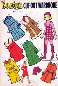 Bunty chooses a winter coat. Always looked at the back of Bunty first for the paper doll 1970s Childhood, Childhood Days, Nostalgia, Vintage Paper Dolls, Vintage Toys, Vintage Sweets, Illustrations Vintage, Retro Toys, Old Toys