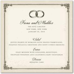 A vintage inspired wedding reception menu card.