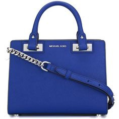 Michael Michael Kors Small Quinn Tote (8,450 THB) ❤ liked on Polyvore featuring bags, handbags, tote bags, bolsas, purses, сумки, blue, royal blue purse, blue purse and blue tote