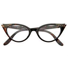 Vintage 1950s Fashion Clear Lens Glasses W/Rhinestones 8434 Tortoise