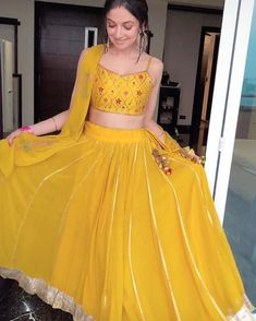 10 Pretty Yellow Lehengas For Your Haldi Outfit Inspiration Mehndi Outfit, Sangeet Outfit, Indian Wedding Gowns, Indian Gowns Dresses, Indian Bridal Fashion, Wedding Dress, Designer Party Wear Dresses, Indian Designer Outfits, Indian Outfits