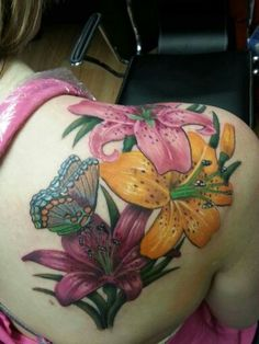 Flowers and butterfly tattoo,  beautiful