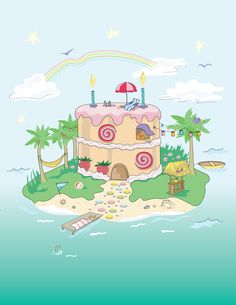Birthday island, sweet stuff illustration  -AChoitz on Behance