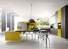 Amazing modern grey and yellow kitchen. Design by Modiani.