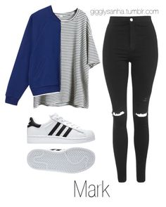 """Casual // Mark"" by suga-infires ❤ liked on Polyvore featuring Topshop, Monki and adidas"