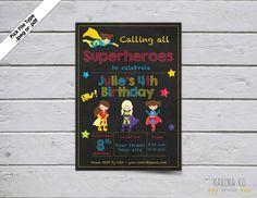 Girl Superhero 5x7 invitation by KarinakdDesigns on Etsy