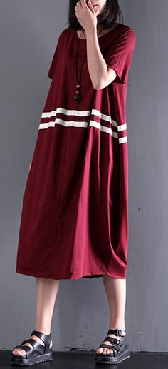 summer burgundy short sleeve maxi dresses plus size cotton dress casual gowns