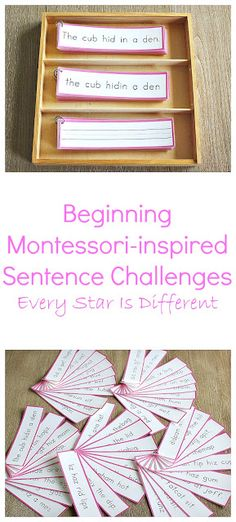 """The post """"Beginning Montessori-inspired Sentence Challenges"""" appeared first on Pink Unicorn Elementary Montessori Elementary, Montessori Preschool, Montessori Education, Elementary Teaching, Montessori Materials, Spelling Activities, Language Activities, Preschool Activities, Teaching Reading"""