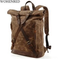 Waxed Canvas, Canvas Leather, Leather Bag, Real Leather, Rucksack Backpack, Leather Backpack, Messenger Bag, Anti Theft Backpack, Hiking Bag