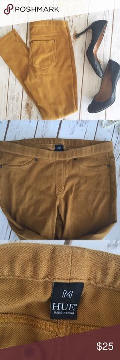 """HUE mustard colored jeggings These are such a great trendy color for fall! Awesome mustard color, goes with everything from a chambray top to a cream sweater.  Measurements laying flat:  * Waist 14"""" * Inseam 29""""  Condition/Flaws * Gently used, but still in excellent condition * Some light pilling, but not very noticeable.  Item # * RS?P.250917 HUE Pants"""