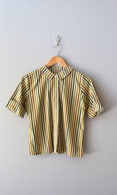 vintage 1950 blouse / peter pan collar top / Tea Stripe blouse
