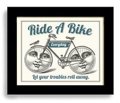 Bicycle Happy Bike Vintage Bicycle Art Poster by DexMex on Etsy, $18.00