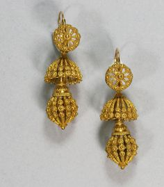 Antique French Gold Cannetille Earrings