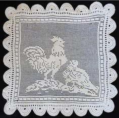 Picture of Vintage Filet Rooster & Hen Crochet Pattern