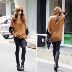 Stylish Women Batwing Long Sleeve Cotton Loose Pullover Tee T-Shirt Top Blouse #pulloverwomen
