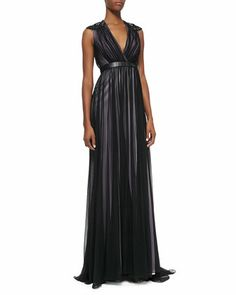 Leather-Banded Tulle Gown  by Badgley Mischka at Neiman Marcus.