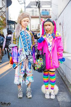 AMAZING colorful (decora?) fashion styles.also, the purse is INSANE…