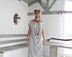 Light Gray Melange Maxi Dress / Gray Kaftan / Asymmetric Plus Size Dress / Oversize Loose Dress / #35016