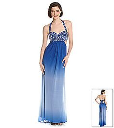 32ee502c0 Product: Jump® Juniors' Rhinestone Bust Cut Out Side Ombre Gown from  Younkers $111.99