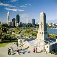 Kings Park in Perth is a perfect place for picnics, pleasant walks, cultural and ceremonial events. The ANZAC Monument. It has a beautiful view of the city lovely at night Melbourne, Brisbane, Sydney, Perth Western Australia, Australia Travel, Cairns, Tasmania, Great Places, Places To See