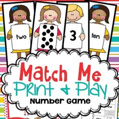 This printable math game is called MATCH ME and it aims to help children recognise and match dot patterns, numerals and number words for numbers Print it out and prepare it for your students to use in a math center or in a small group activity lesson. Homeschool Kindergarten, Preschool Math, Math Activities, Mega Math, Printable Math Games, Math Centers, Learning Centers, Sixth Grade Math, Names