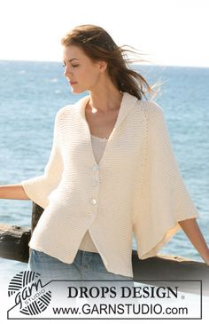 Free knitting patterns and crochet patterns by DROPS Design Batwing Cardigan, Cotton Cardigan, Knit Cardigan, Pullover, Drops Design, Knitting Patterns Free, Knit Patterns, Free Knitting, Free Pattern