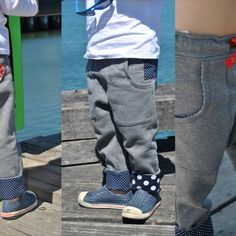 """Rascal Pants --- Cool, Slouch Pants for Boys and Tomboys. I'm making these now. Gus nixed the """"bum patch"""" tho."""