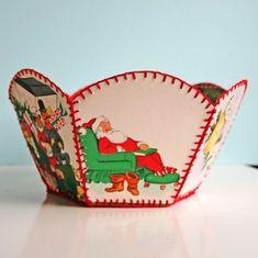 DIY vintage Christmas card bowl - reminds me of my Mammaw Vintage Christmas Crafts, Christmas Card Crafts, Christmas Projects, Holiday Crafts, Christmas Greetings, Christmas Ideas, Christmas Decorations, Xmas, Christmas Ornaments