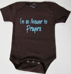 Im an Answer to Prayers Adorable Baby onesie | Christian Sayings on Onesies | Infertility Onesies