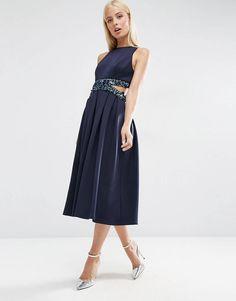 ada92ddff22 LOVE this from ASOS! Navy Midi Dress