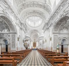 St. Peter and Paul's Church in Vilnius. Lithuania// Love that almost everything's white//