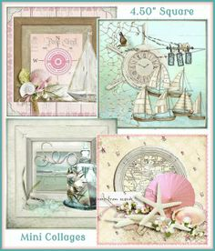 INSTANT DOWNLOAD Set of 4 Seaside Memories Card Front Collages by SenecaPondCrafts