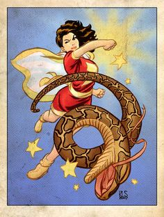 Mary Marvel and one unfortunate snake - by Ron Salas Original Captain Marvel, Captain Marvel Shazam, Shazam Comic, Comic Book Characters, Comic Books Art, Marvel Dc Comics, Mary Marvel, The Other Marvel, Comic Book Girl