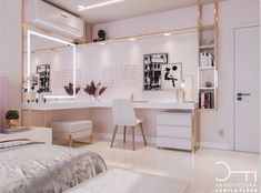 Image in Home decoration collection by Zoé on We Heart It Teen Bedroom Designs, Room Design Bedroom, Bedroom Decor For Teen Girls, Teen Room Decor, Room Ideas Bedroom, Home Room Design, Small Room Bedroom, Study Room Decor, Luxury Bedroom Design