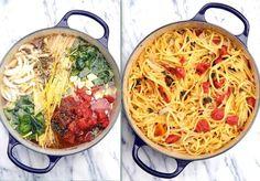 One pot Pasta | Linguine com tomate e manjericão
