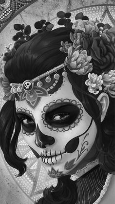 Black and white face paint, painting.