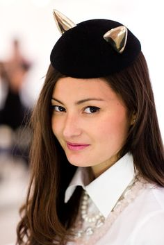 Maison Michel cap with metal cat ears (blogger Peony Lim)