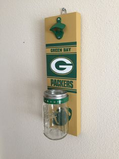GREEN BAY PACKERS Bottle Opener with Mason Jar Rustic Football Wisconsin - pinned by pin4etsy.com