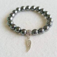Hematite stretch bracelet with charm