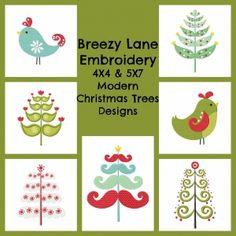 Modern Christmas Trees Machine Embroidery Design Set 4X4 & 5X7 - Breezy Lane Embroidery