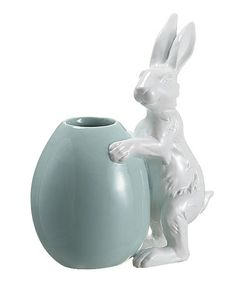 Look what I found on #zulily! Teal Easter Egg & Bunny Vase #zulilyfinds