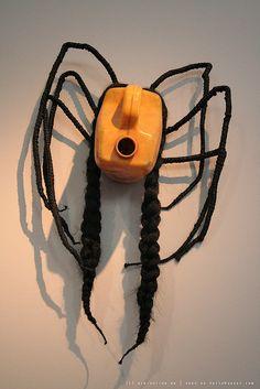 Plastic Mask, Plastic Bottle Crafts, Plastic Bottles, Art N Craft, Diy Art, Art Mural Africain, African Wall Art, 6th Grade Art, African Crafts