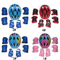 7pcs Kids Skateboard Protective Gear Skate Bicycle Helmet Elbow Wrist Knee Pads