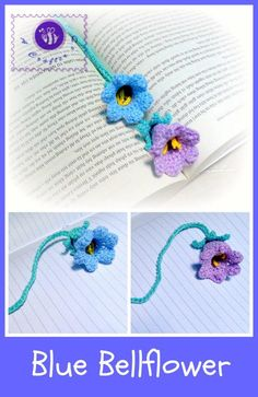 Learn to crochet a flower bookmark as a cool gift in this free crochet blue bellflower pattern. Written pattern in US crochet terms. Flower Motif, Crochet Puff Flower, Knitted Flowers, Crochet Flower Patterns, Crochet Motif, Knitting Patterns, Crochet Ideas, Crochet Bookmarks, Crochet Books