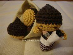 castañera y castañas de ganchillo, crochet chesnut and chesnut woman by malonaalona.com