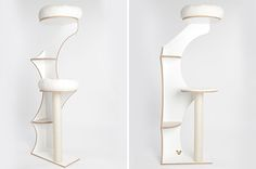 This beautiful modern cat tree is from German company Julinka. Designed to fit perfectly in a corner, the ARCHE Winding Cat Treetakes up minimal floorspace while creating an elegant way for kitty to climb. Optional flat cushions or fluffy beds. Handcrafted in Germany. Cost is about $950 US plus shipping. More details at julinka-pets.de.