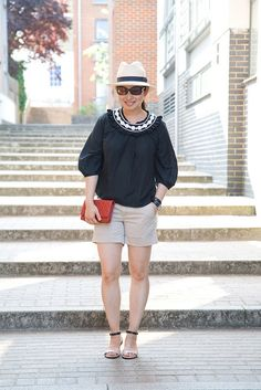Summer outfit. #Chanel WOC, #Hermes Cape Cod watch, 3.1 Phillip Lim, Christys panama hat