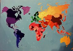 #world #card #colourful #selfmade #drawing #painting #art #acryl #continents #welt
