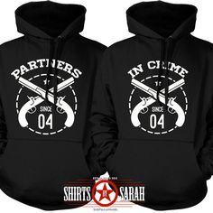 Best Friend Hoodies Partners In Crime Matching Sweatshirts Couples Shirts BFF Besties Hoodie